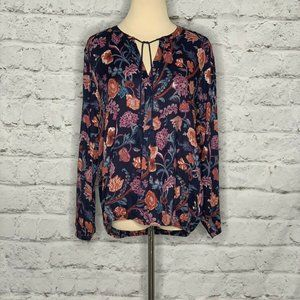 Lucky Brand Blue Multicolor Drawstring Blouse